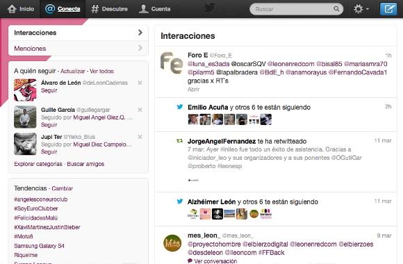 Captura de @Conecta - Interacciones de @leónenredcom en Twitter