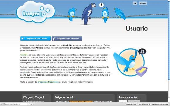 Captura de Twync con información para usuarios