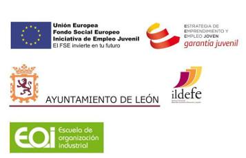 Unión Europea; Fondo Social Europeo; Iniciativa de Empleo Juvenil. El FSE invierte en tu futuro - Estrategia de Emprendimiento y Empleo Joven - Ayuntamiento de León - Ildefe - EOI, Escuela de organización industrial