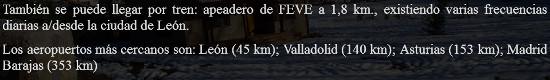 Distancias con lugares estratégicos de viaje del centro de turismo rural Era del Río