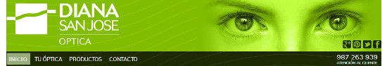 Cabecera de la página web de óptica Diana San José