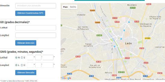 Convertidor de una dirección a Coordenadas GPS y de Coordendas GPS a una dirección en distintas notaciones, de coordenadas-gps.com