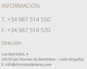 Información de contacto de la bodega Dominio de Tares