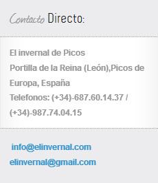 Información de contacto del centro de turismo rural El invernal de Picos