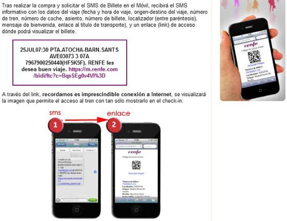 Instrucciones sobre como utilizar el 'Billete en el móvil' de Renfe con códigos QR