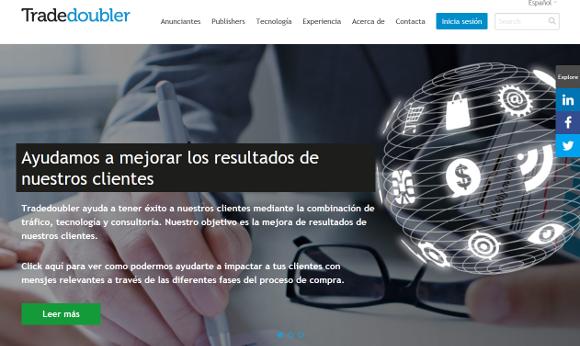 """Tradedoubler, página de inicio """"Ayudamos a mejorar los resultados de nuestros clientes"""""""