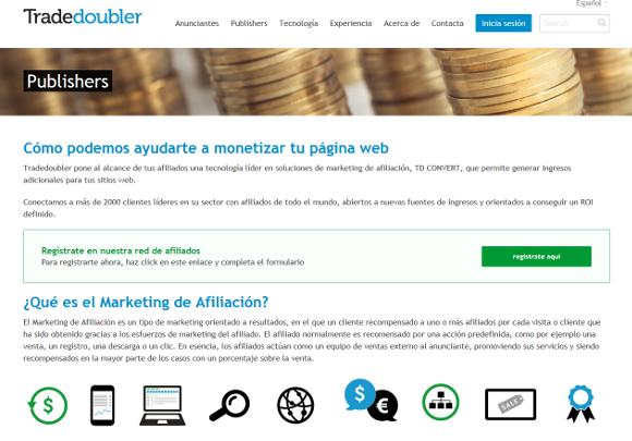 """Tradedoubler, página Publishers, """"Cómo podemos ayudarte a monetizar tu página web"""""""