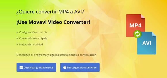Captura de la página principal de Movavi Video Converter
