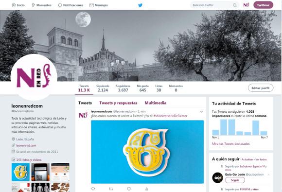 Captura de nuestro perfil @leonenredcom en Twitter