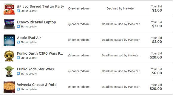 Lista de subastas canceladas en Izea para @leonenredcom