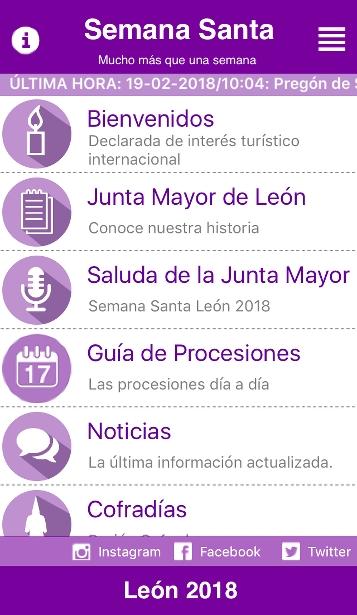 Captura de la aplicación Semana Santa León en el iPhone