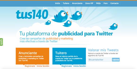 Captura de la página de inicio de Tus140.com