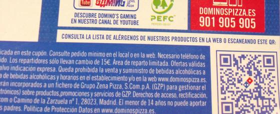 Publicidad de Dominos Pizza con código QR