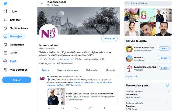 Captura de nuestro perfil @leonenredcom en Twitter, 8 años