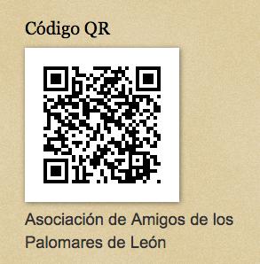Código QR en la página web de la Asociación de Amigos de los Palomares de León