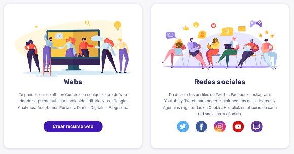 Alta de recursos en Coobis: Webs y Redes sociales