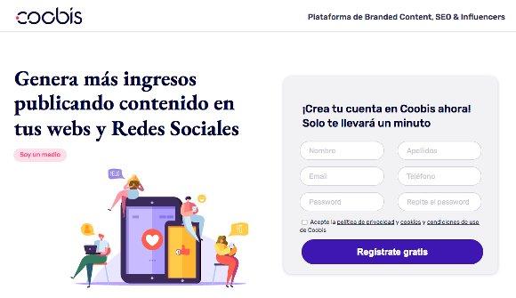 Coobis, Plataforma de Branded Content, SEO and Influencers. Genera más ingresos publicando contenido en tus webs y Redes Sociales.