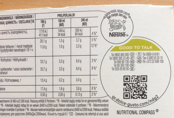 Código QR en la caja de las cápsulas Nescafé Dolce Gusto Cappuccino